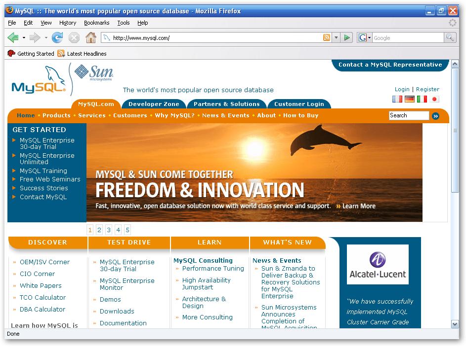 MySQL home page