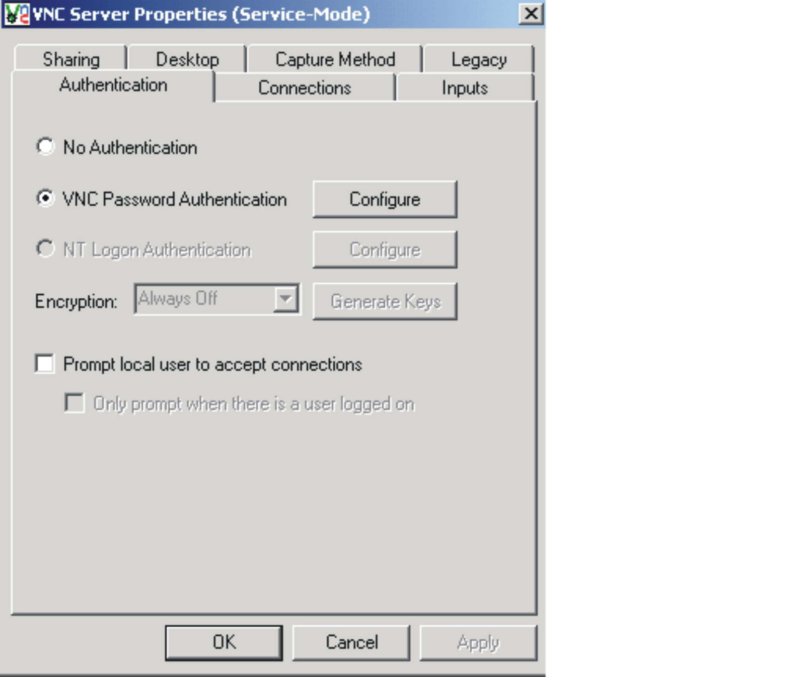 RealVNC Configuration