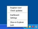 System tray menu