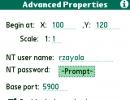 Advanced properties screen
