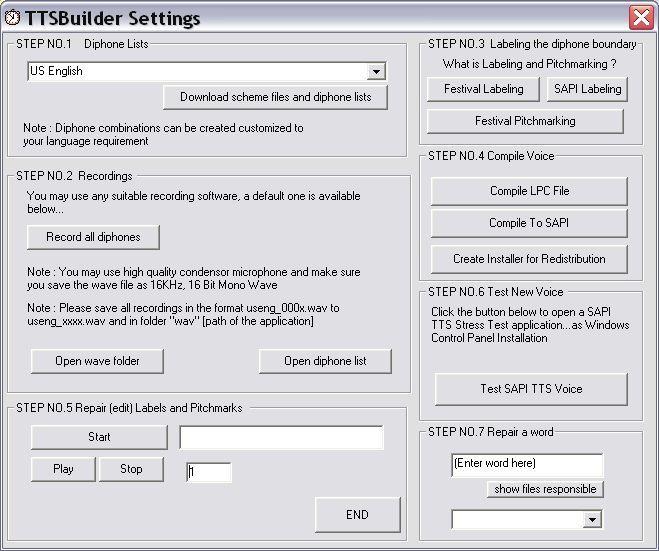 TTS Builder settings