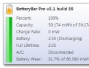 Status popup shows detailed information about your battery's status