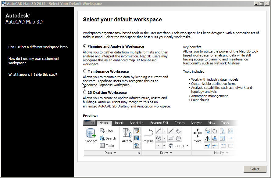 Select workspace