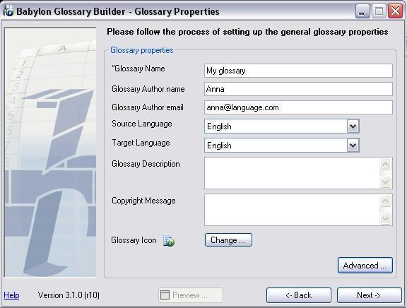 Glossary Properties