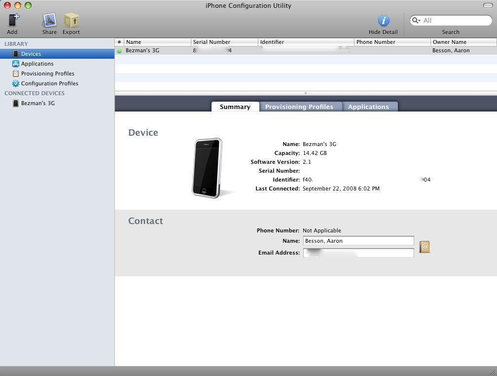 iPhone Configuration Utility main window