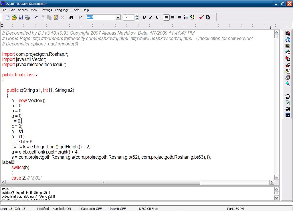 Disassembling a .class file