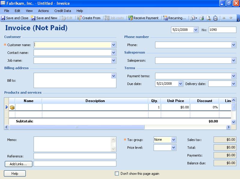 create an invoice