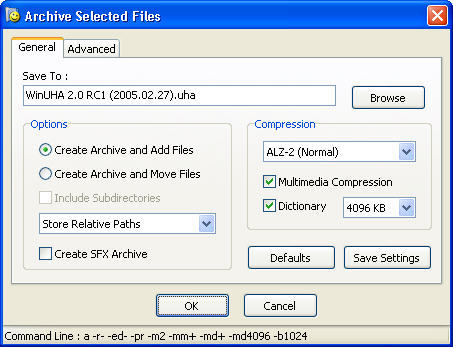 General archiving options