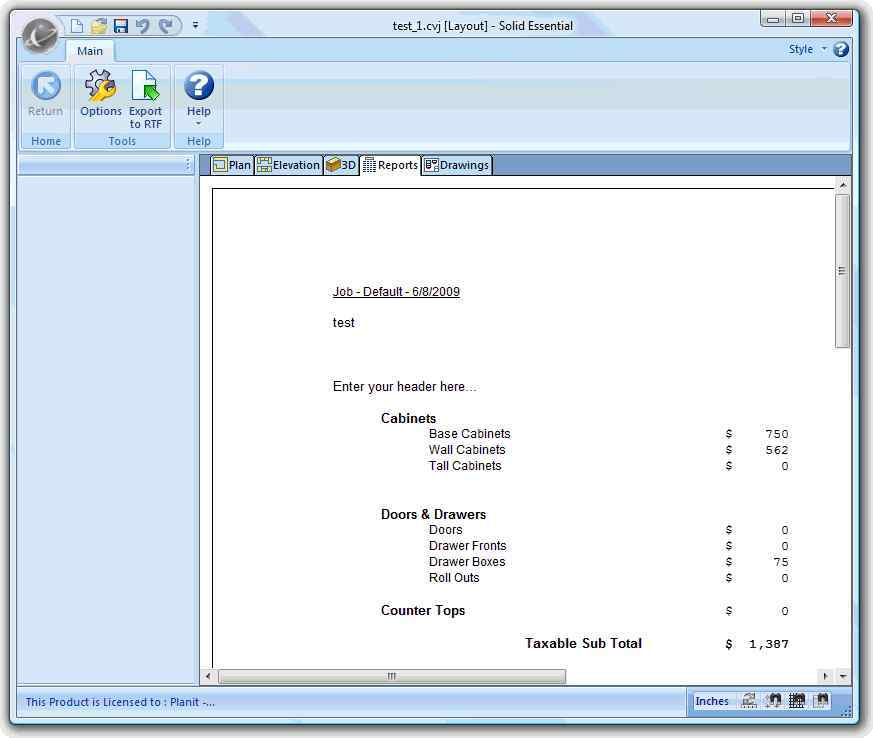 Solid Essential's Report Window