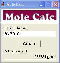 Molecular weight of compounds (ferric sulfate)