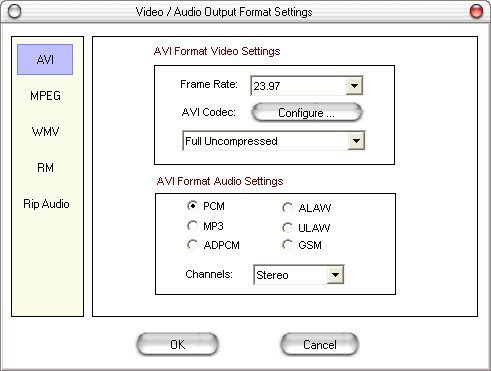 You can select the output file features