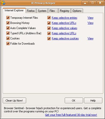 Internet Explorer settings.