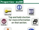 Palm properties screen