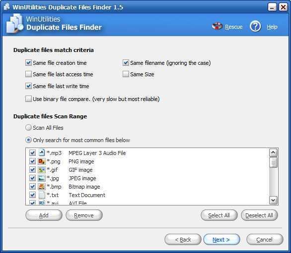 Duplicate files match criteria