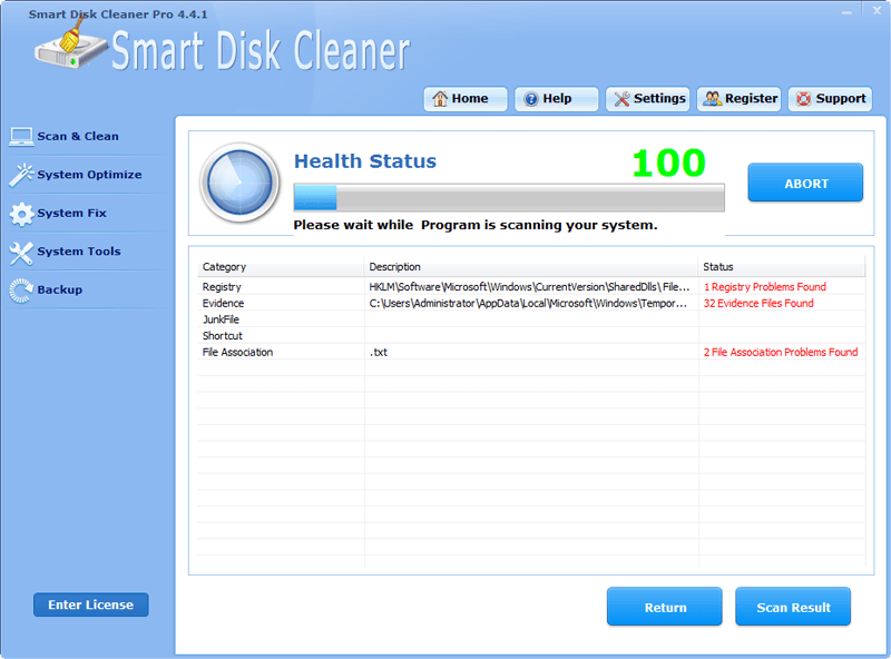 the main page of the Smart Disk Cleaner Pro