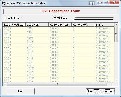 Active TCP connections table