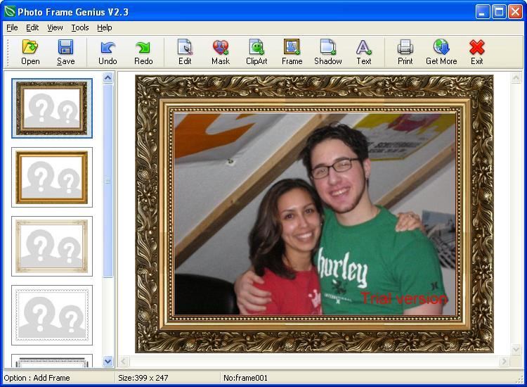 Applying a frame to the photo