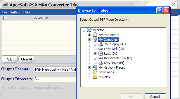 Select output directory