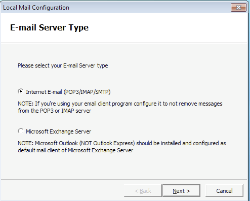 Local mail configuration