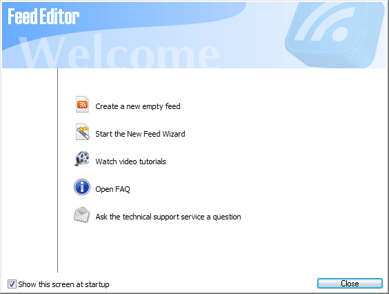 Welcome screen and main functions