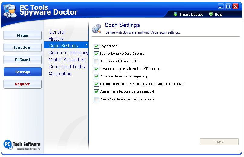 Scan settings window
