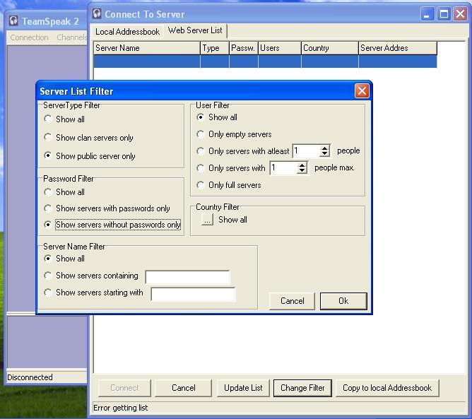 Server list filter