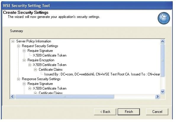 WSE security setting tool