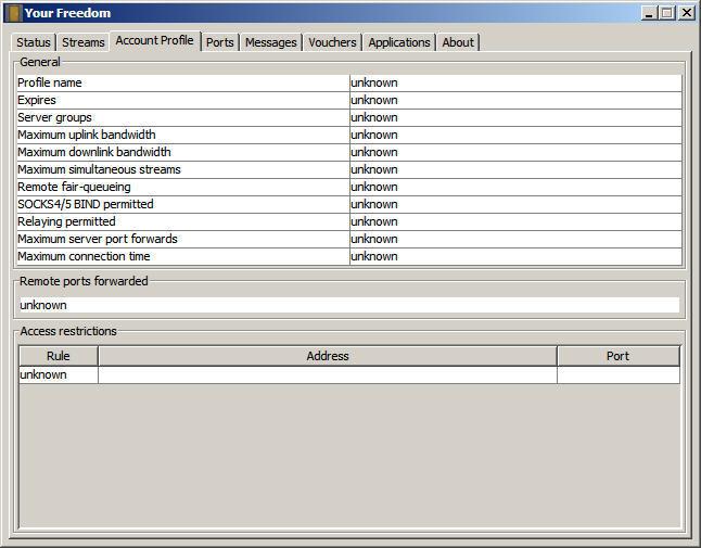 Main window - Account Profile tab