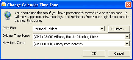 Change calendar time zone window