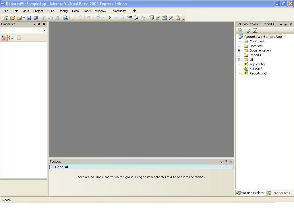 Reports windows sapmles application