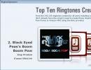 Top ten ringtones window