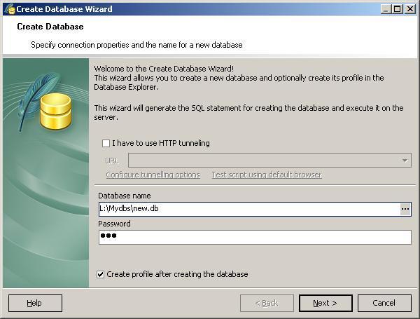 Create new database wizard