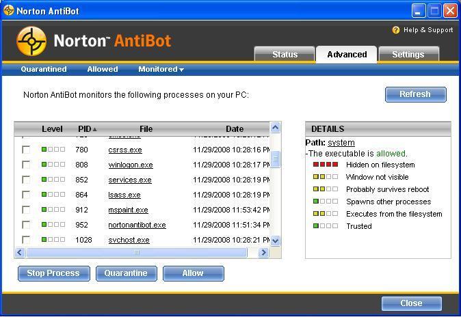Monitoring tasks and quaratined files