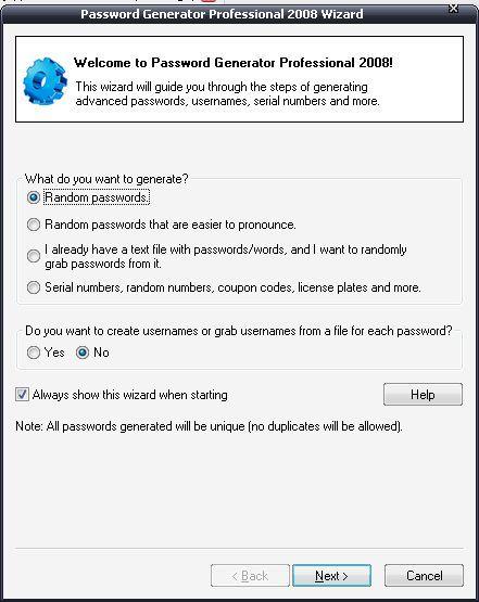 Password geberation wizard step 1