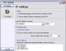 IP Settings screen