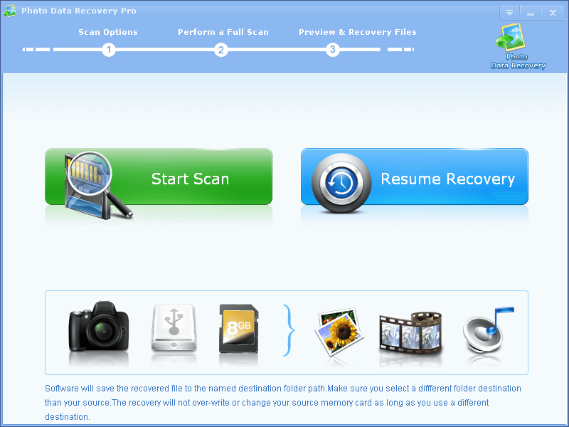 The main recovery screen