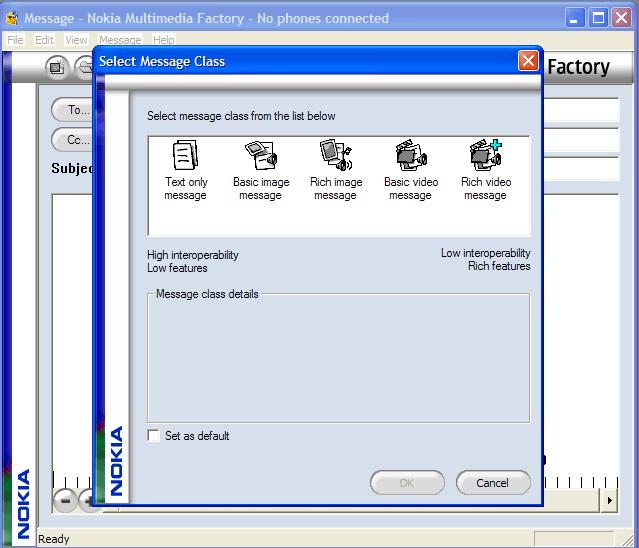 Change message class option.