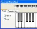 On-screen piano keys