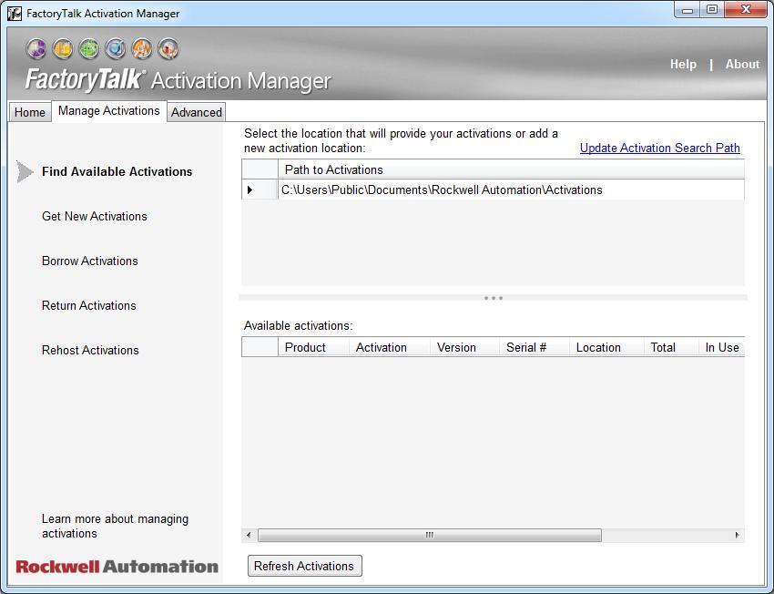 Activations Window