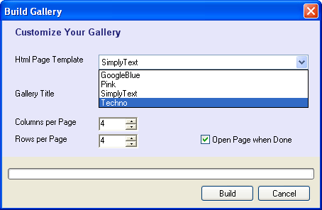 Selecting template