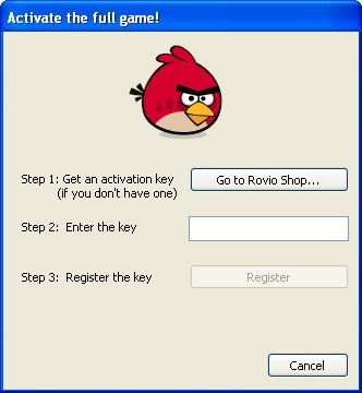 Activation Dialog for Demo Game