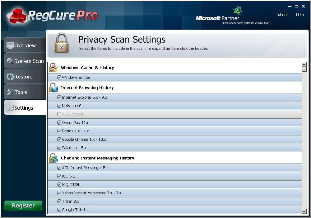 Privacy Scan Settings