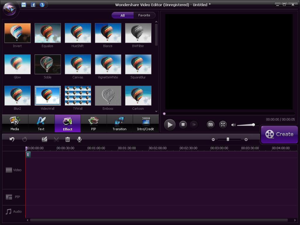 Video Effects Menu