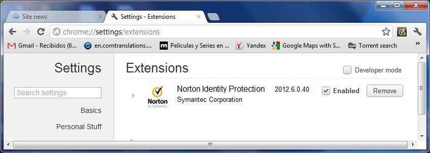 Manage Norton Identity Safe extension
