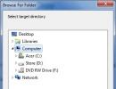 Browse for Folder Dialog Box