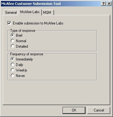 Spam Submission menu