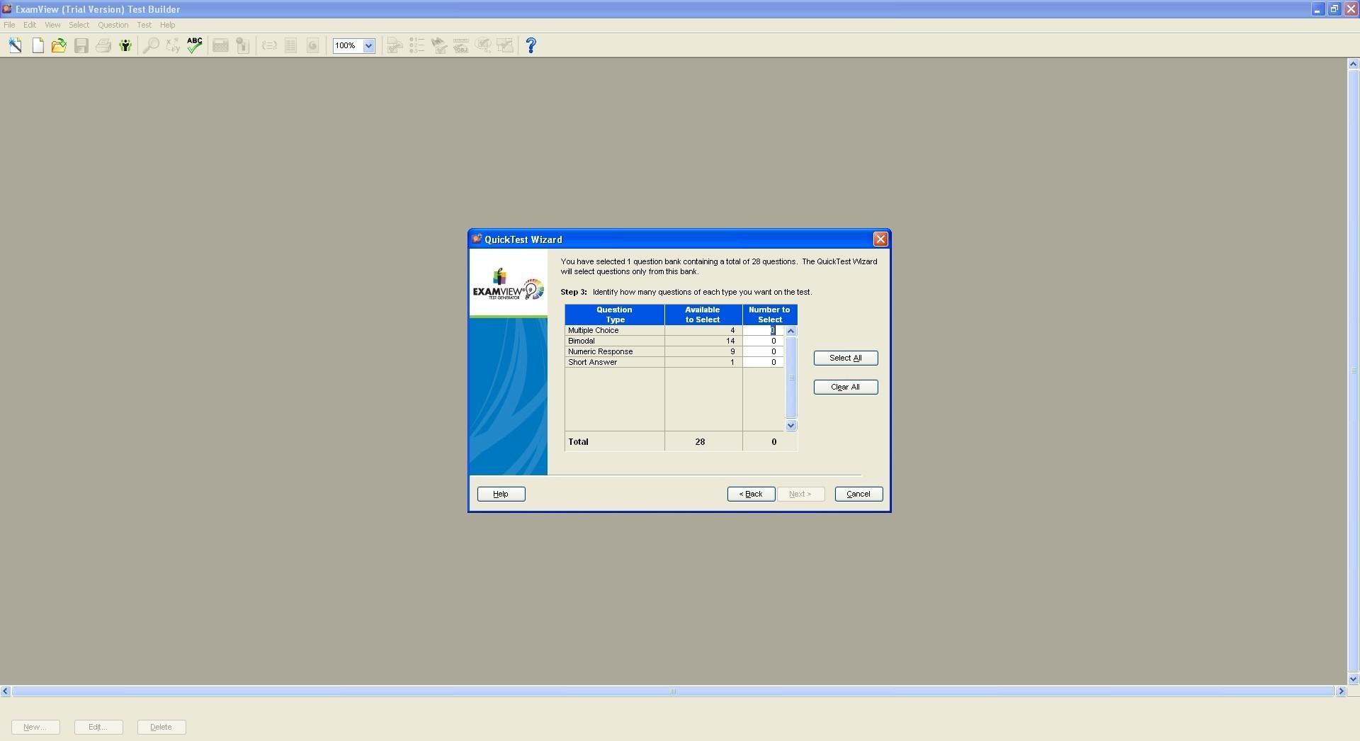 Test generator window