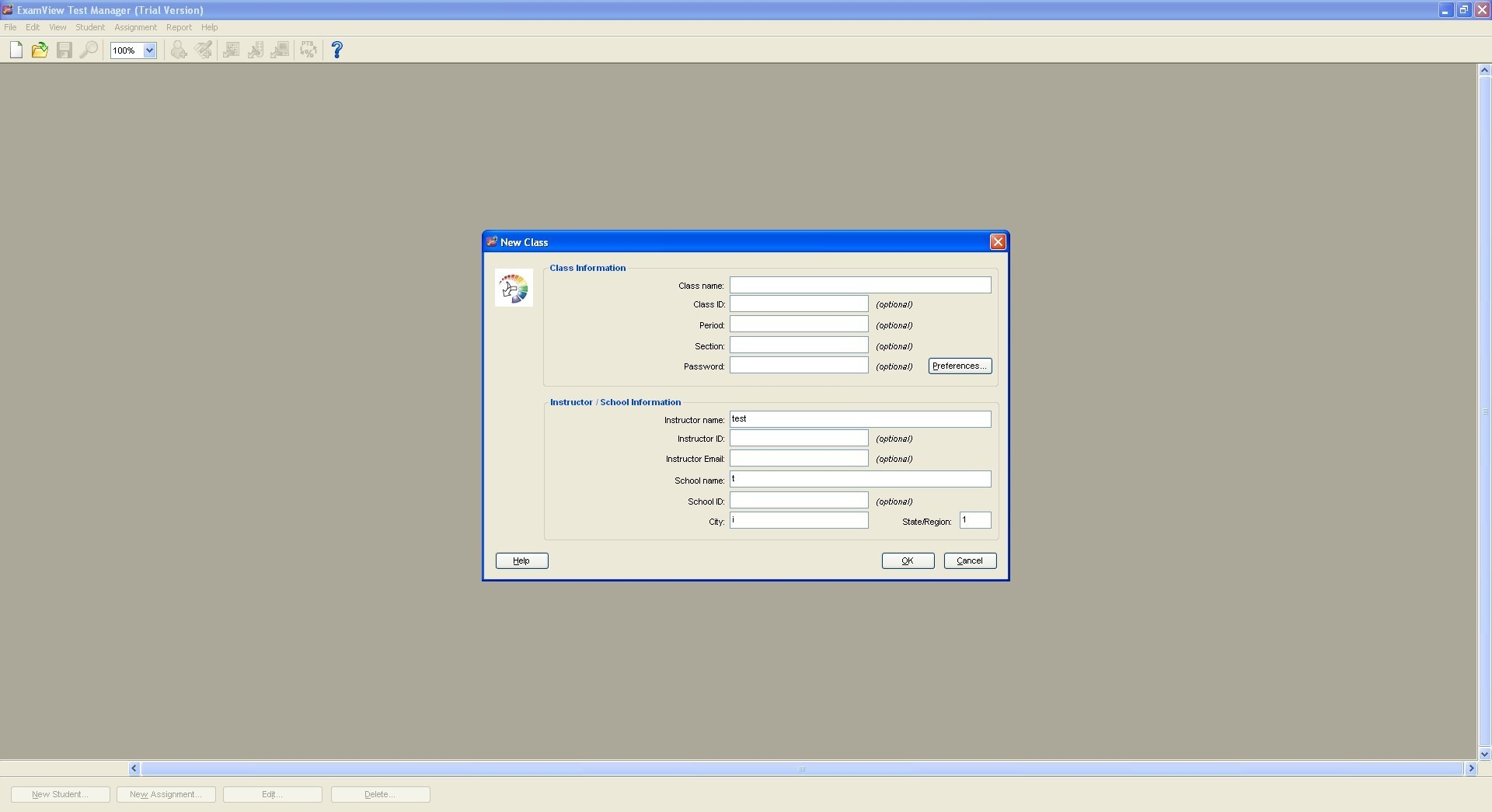 Test manager window