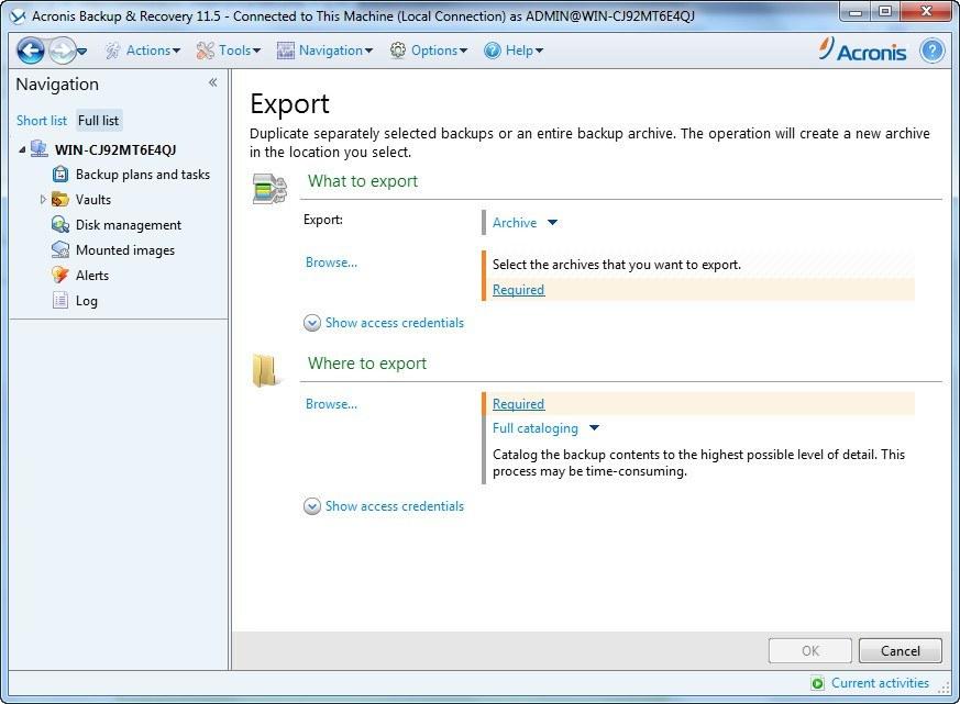 Export Backup