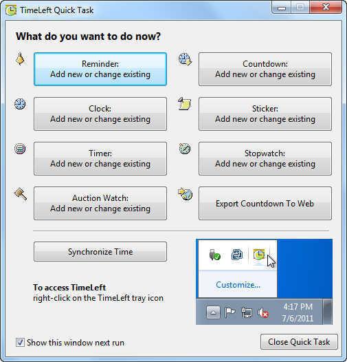 Quick Task Window